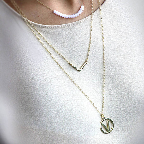 "Vegan ""V"" Necklace Set - The Little Secret Boutique"
