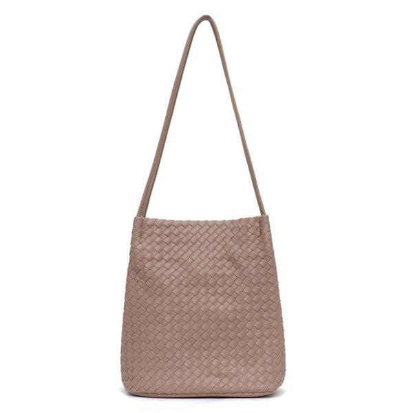 Luxury Collection Hand Woven Vegan Leather Bucket Crossbody Purse - The Little Secret Boutique