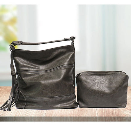 "Vegan ""Mushroom"" Leather Double Zipper Convertible Bag"