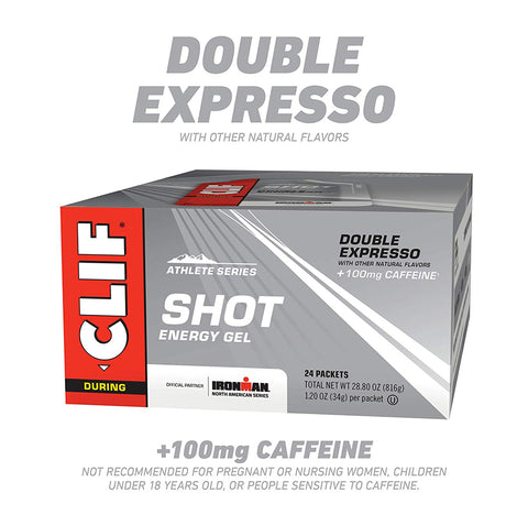 Image of CLIF SHOT Double Espresso, 100mg Caffeine (1.2 Ounce Packet, 24 Count)