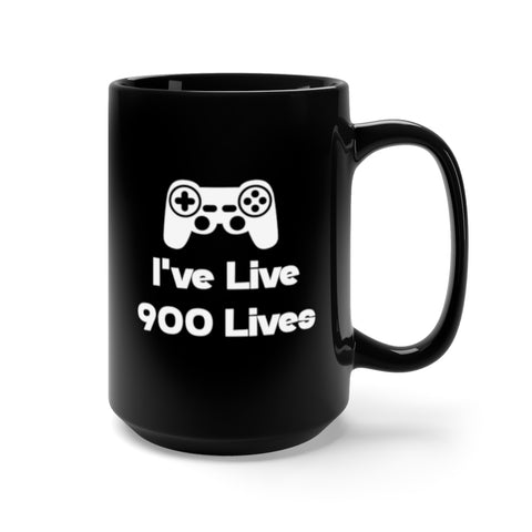 900 Lives Black Mug 15oz
