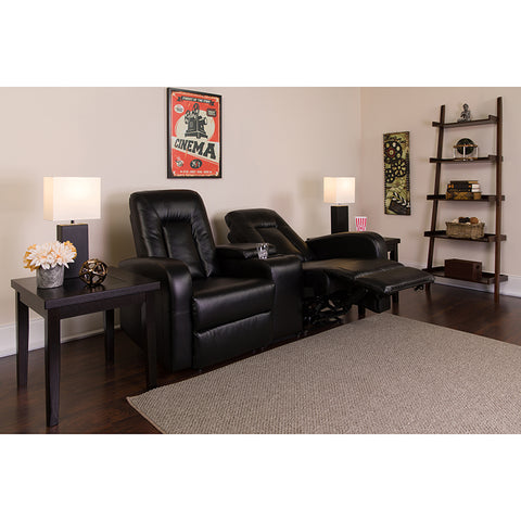 Flash Furniture Eclipse Series 2-Seat Reclining Black Leather Theater Seating Unit with Cup Holders