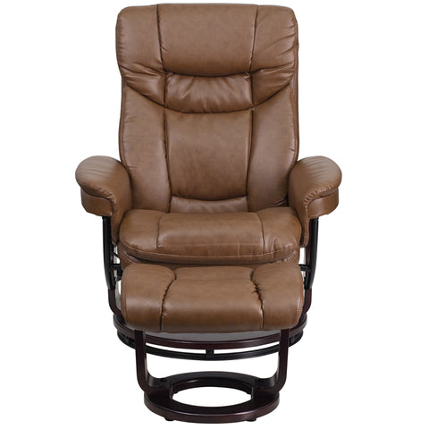 Flash Furniture Contemporary Multi-Position Recliner and Curved Ottoman with Swivel Mahogany Wood Base in Palimino Leather