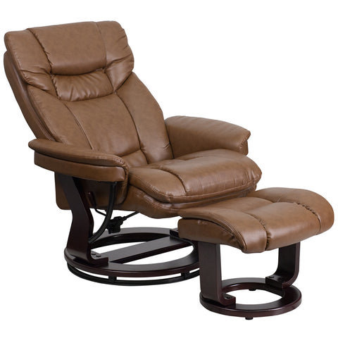 Image of Flash Furniture Contemporary Multi-Position Recliner and Curved Ottoman with Swivel Mahogany Wood Base in Palimino Leather