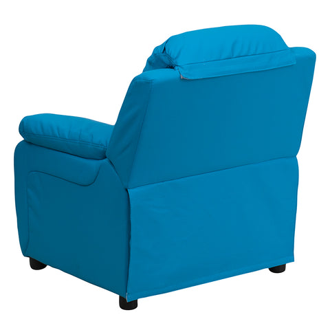 Image of Flash Furniture Deluxe Padded Contemporary Turquoise Vinyl Kids Recliner with Storage Arms