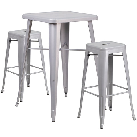 "Commercial Grade 23.75"" Square Silver Metal Indoor-Outdoor Bar Table Set with 2 Square Seat Backless Stools"