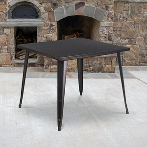 "Commercial Grade 35.5"" Square Black-Antique Gold Metal Indoor-Outdoor Table"