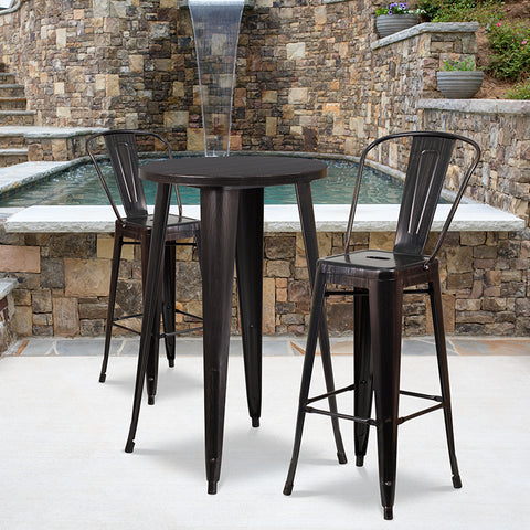"Image of Commercial Grade 24"" Round Black-Antique Gold Metal Indoor-Outdoor Bar Table Set with 2 Cafe Stools"
