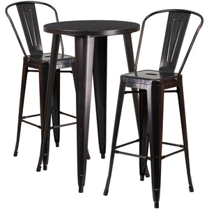 "Commercial Grade 24"" Round Black-Antique Gold Metal Indoor-Outdoor Bar Table Set with 2 Cafe Stools"