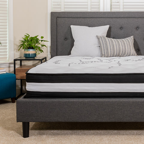 Flash Furniture Capri Comfortable Sleep 12 Inch Foam and Pocket Spring Mattress, Queen Mattress in a Box Bundle with SafeRest Queen Size Premium Hypoallergenic Waterproof Mattress Protector