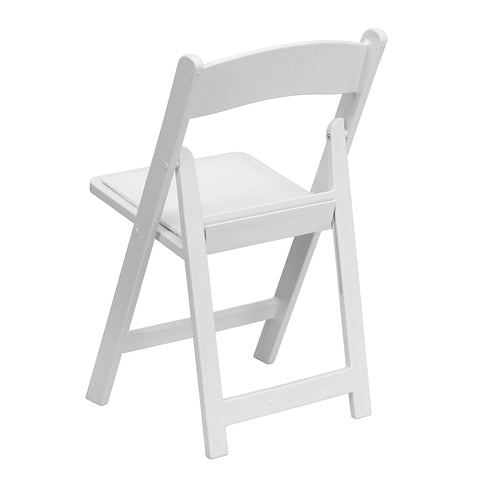 Image of Flash Furniture 4 Pk. HERCULES Series 1000 lb. Capacity White Resin Folding Chair with White Vinyl Padded Seat