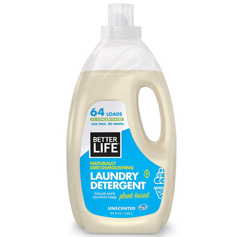 Better Life Natural Concentrated Laundry Detergent, Unscented, 64 oz 4-Pack