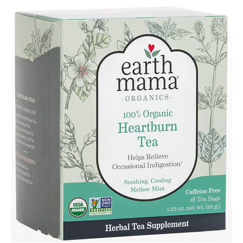 Image of Earth Mama Organic Heartburn Tea Bags for Occasional Pregnancy Heartburn, 16-Count