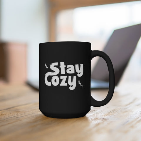Stay Cozy Black Mug 15oz