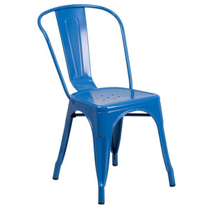 Commercial Grade Blue Metal Indoor-Outdoor Stackable Chair