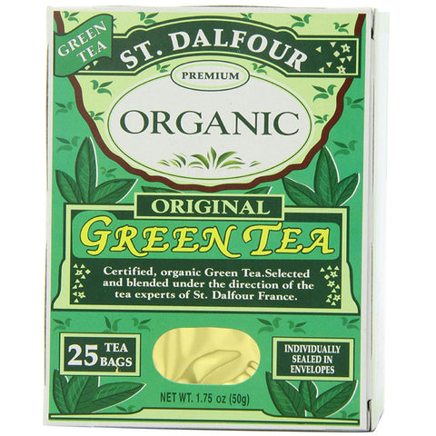 Image of ST. DALFOUR Organic Green Tea, Tea Bags, Original, 1.75 Ounce Bag, 25 Count Box