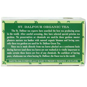 ST. DALFOUR Organic Green Tea, Tea Bags, Original, 1.75 Ounce Bag, 25 Count Box