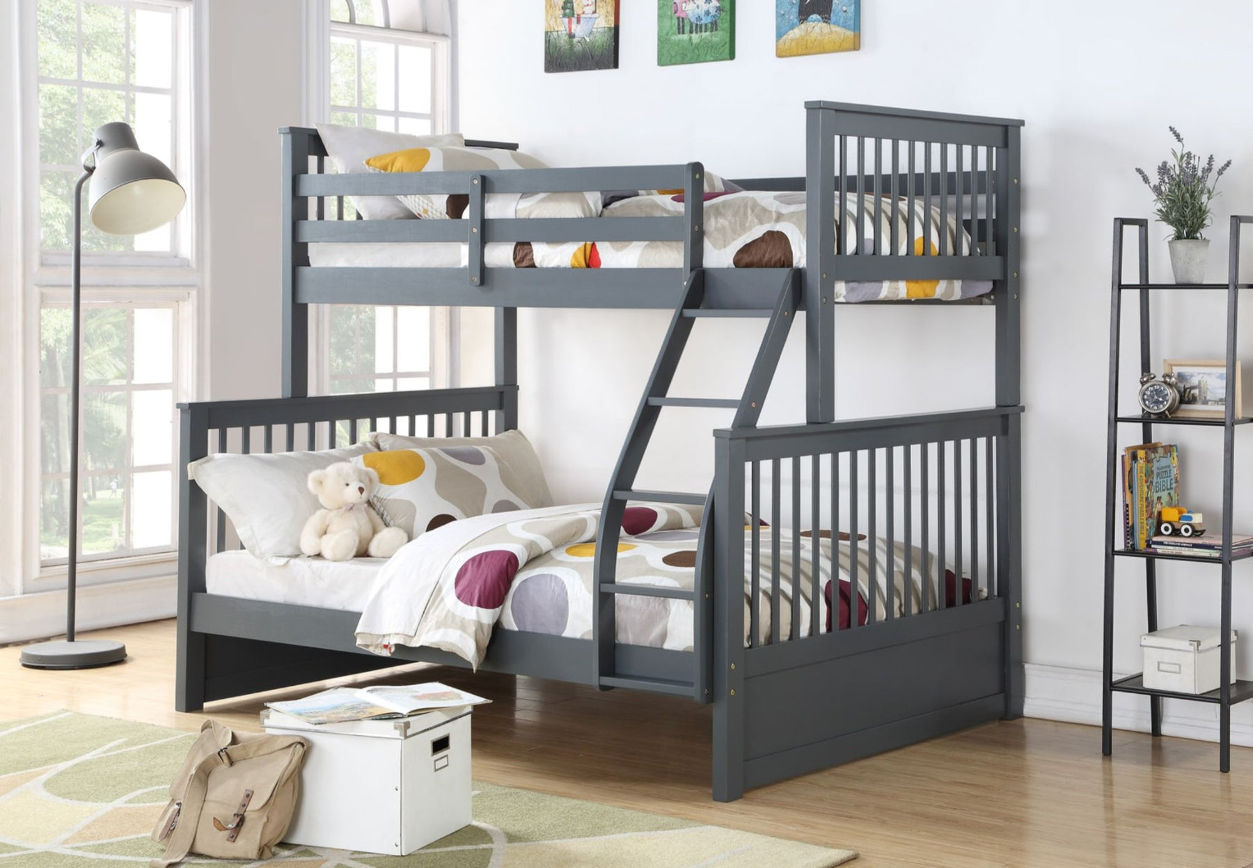 Jimmy Single-Double Wood Bunk Bed with Mattresses