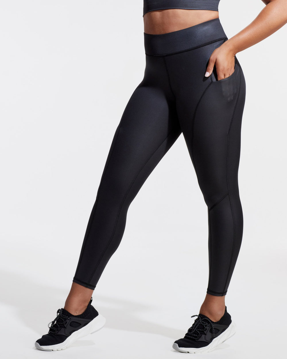 Alba Gloss Pocket Legging - Black