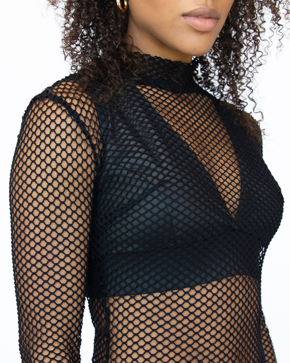 Electric Fishnet Top - Black