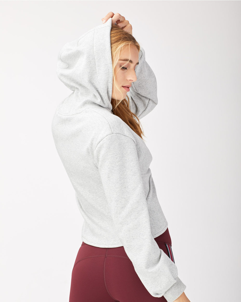 Farfalla Crop Hoodie - Heather Grey