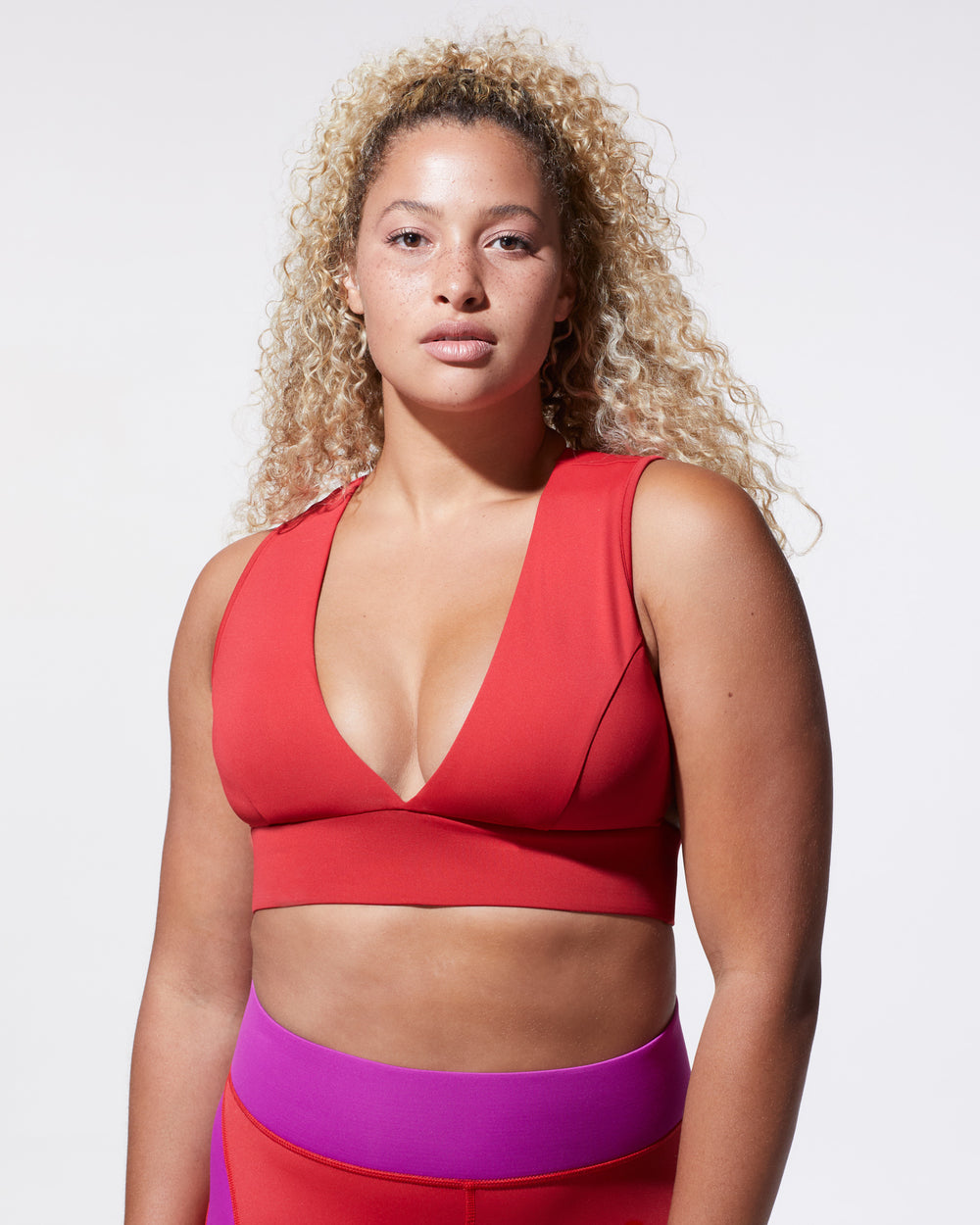 Flare Longline Bra - Fire Red