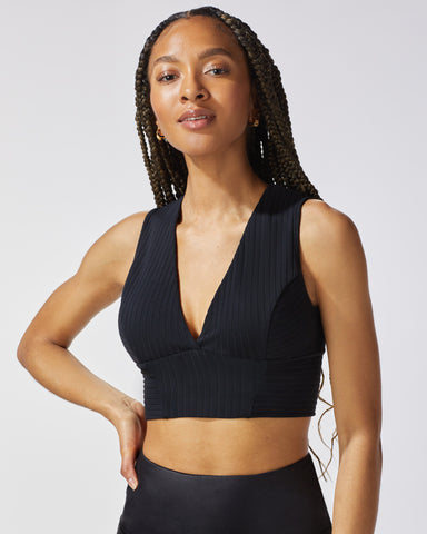 Flare Ribbed Bustier - Black