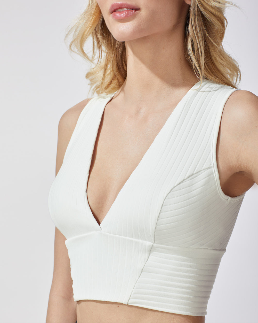 Flare Ribbed Bustier - Ivory