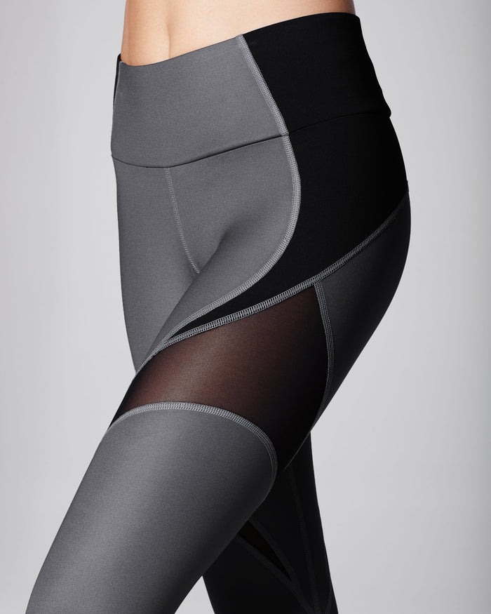 Glow High Waisted Legging - Gunmetal