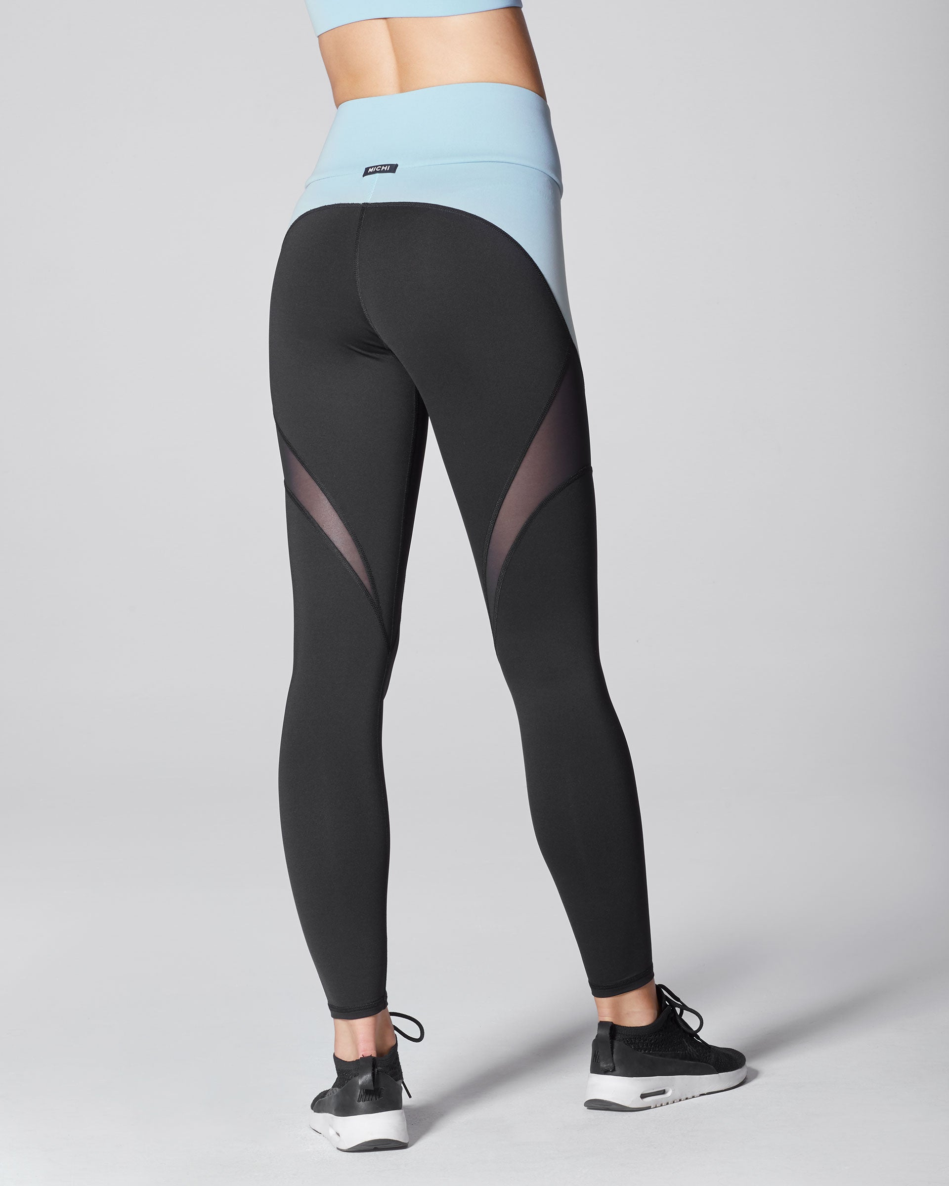 Glow High Waisted Legging - Black/Sky