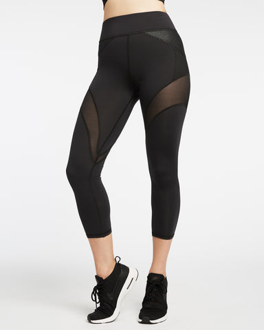 Illusion Crop Legging - Black with Denim