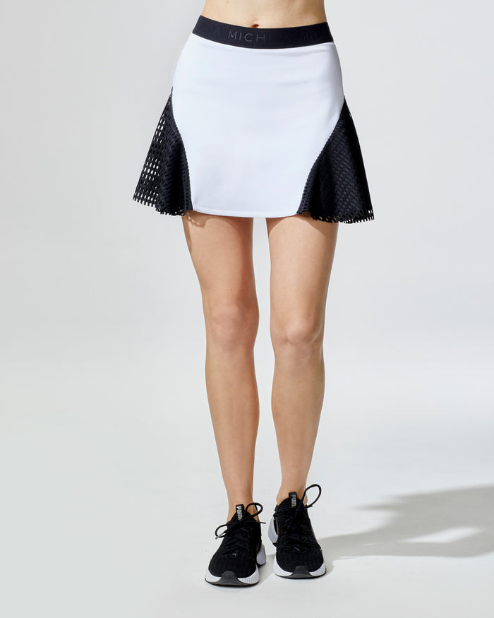 Match Skirt - White/Black Square Mesh