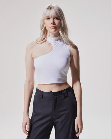 Eclipse Ribbed Crop Top - White