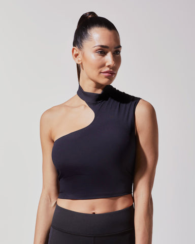 Eclipse Ribbed Crop Top - Black