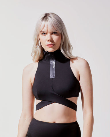Elektra Hooded Crop Top - Black