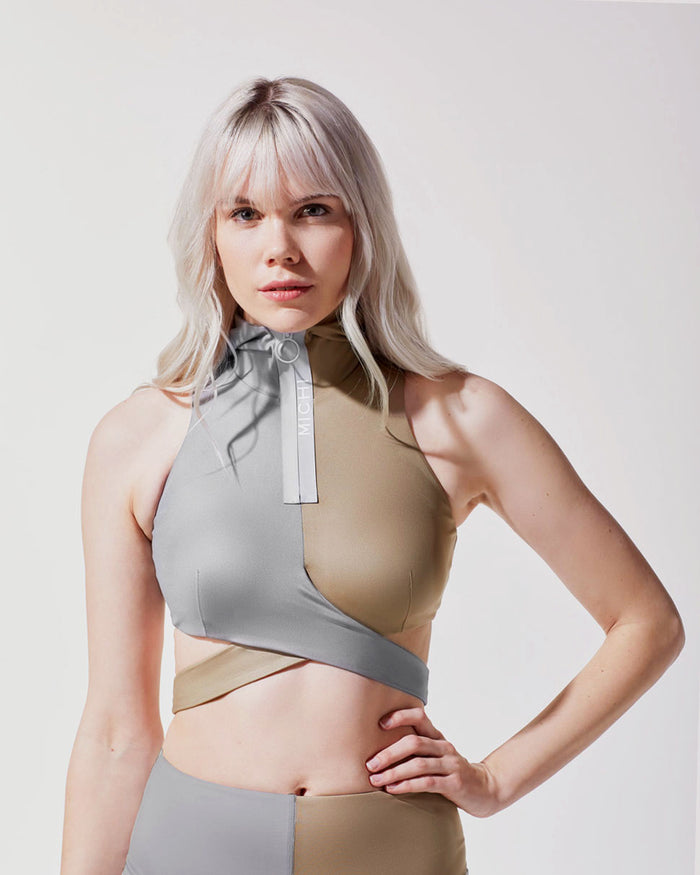 Elektra Hooded Crop Top - Golden/Platinum