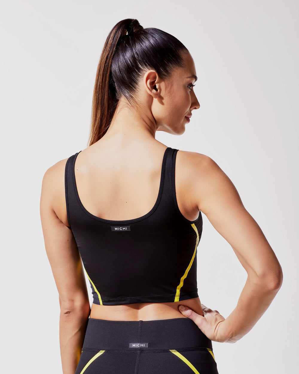 Cadence Crop Top - Black/Acid Yellow