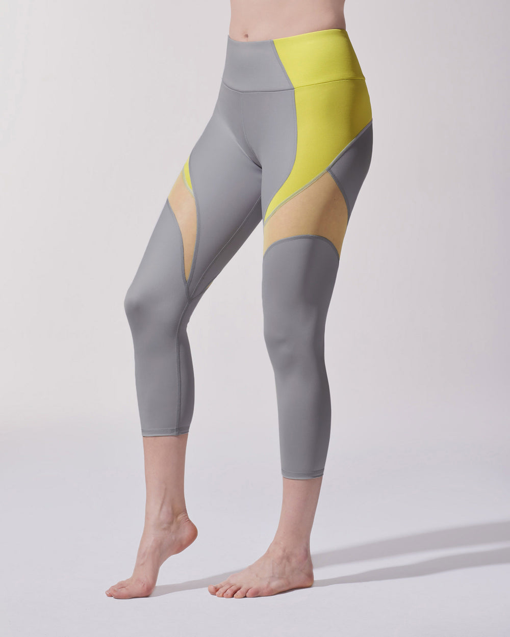 Glow Crop Legging - Platinum/Acid Yellow
