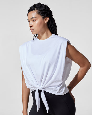Muscle Tie Top - White