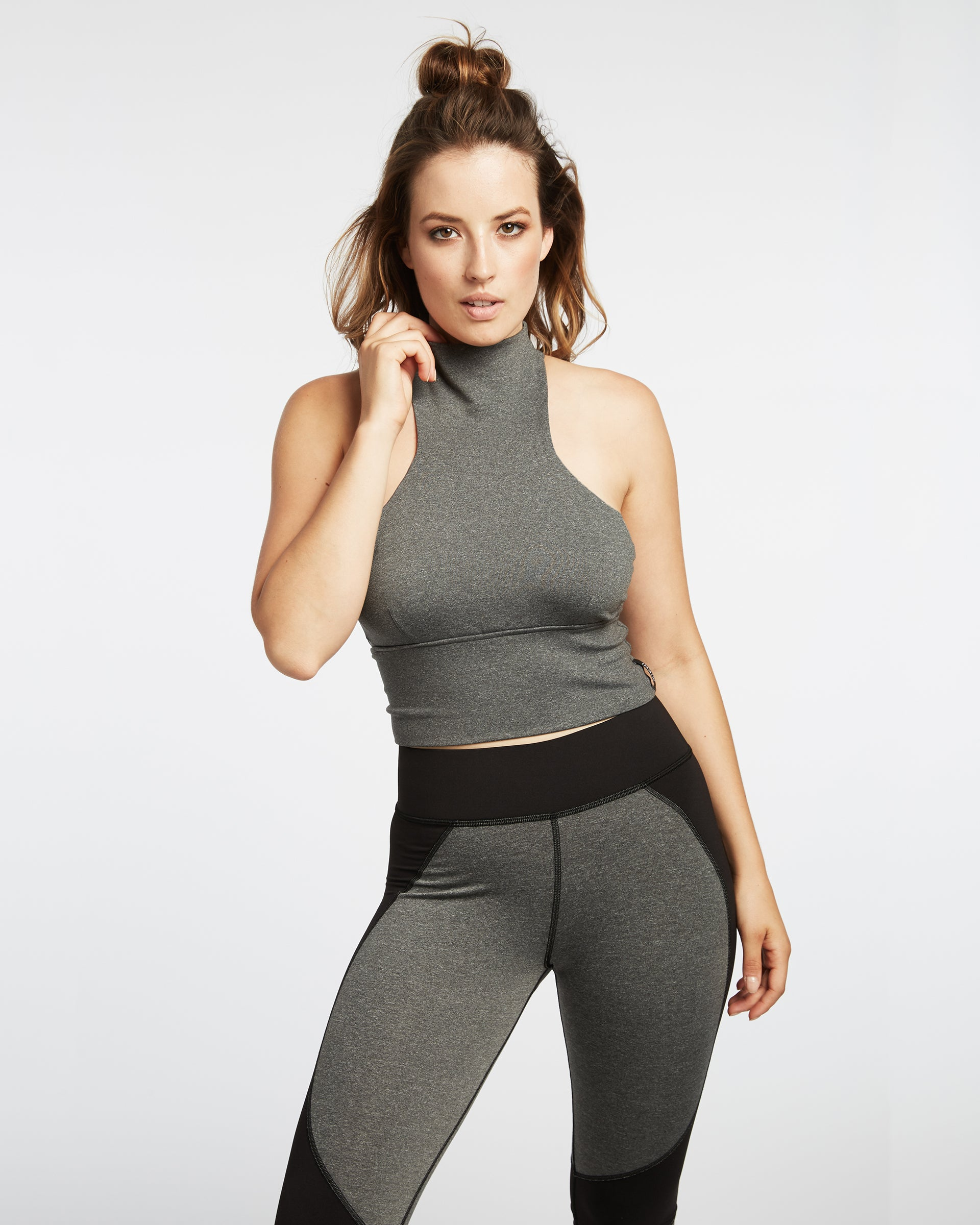 Extension Crop Top - Heather Grey