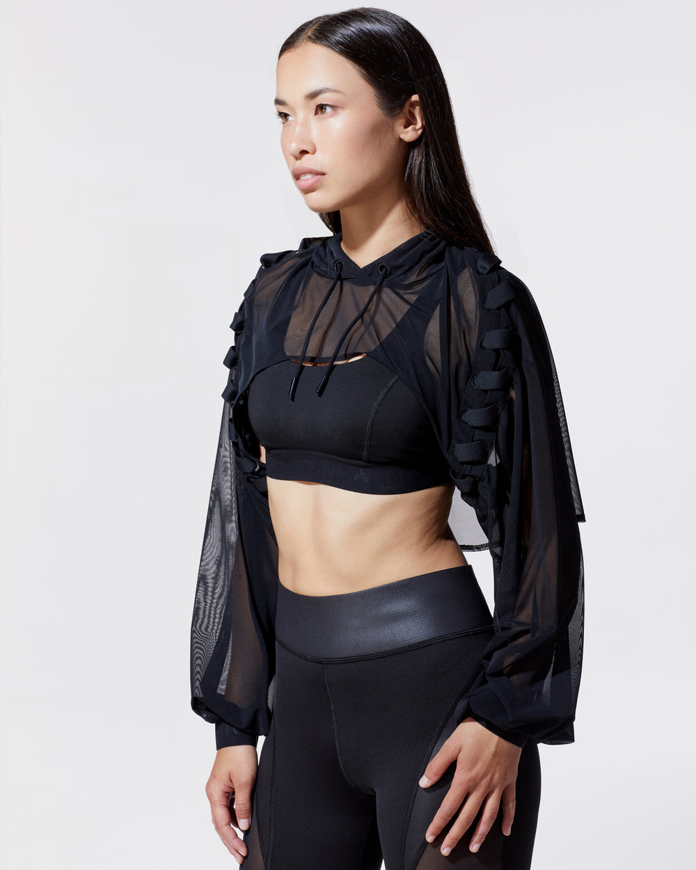 Nero Cut-Out Crop Hoodie - Black