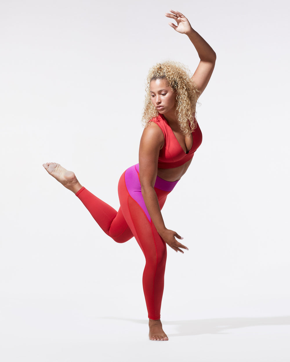 Raven Legging - Magenta/Fire Red
