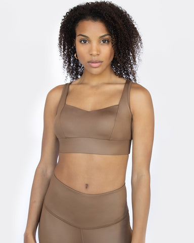 Rebel Gloss Longline Bra - Bronze
