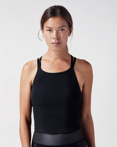 Reflex Ribbed Crop Top - Black