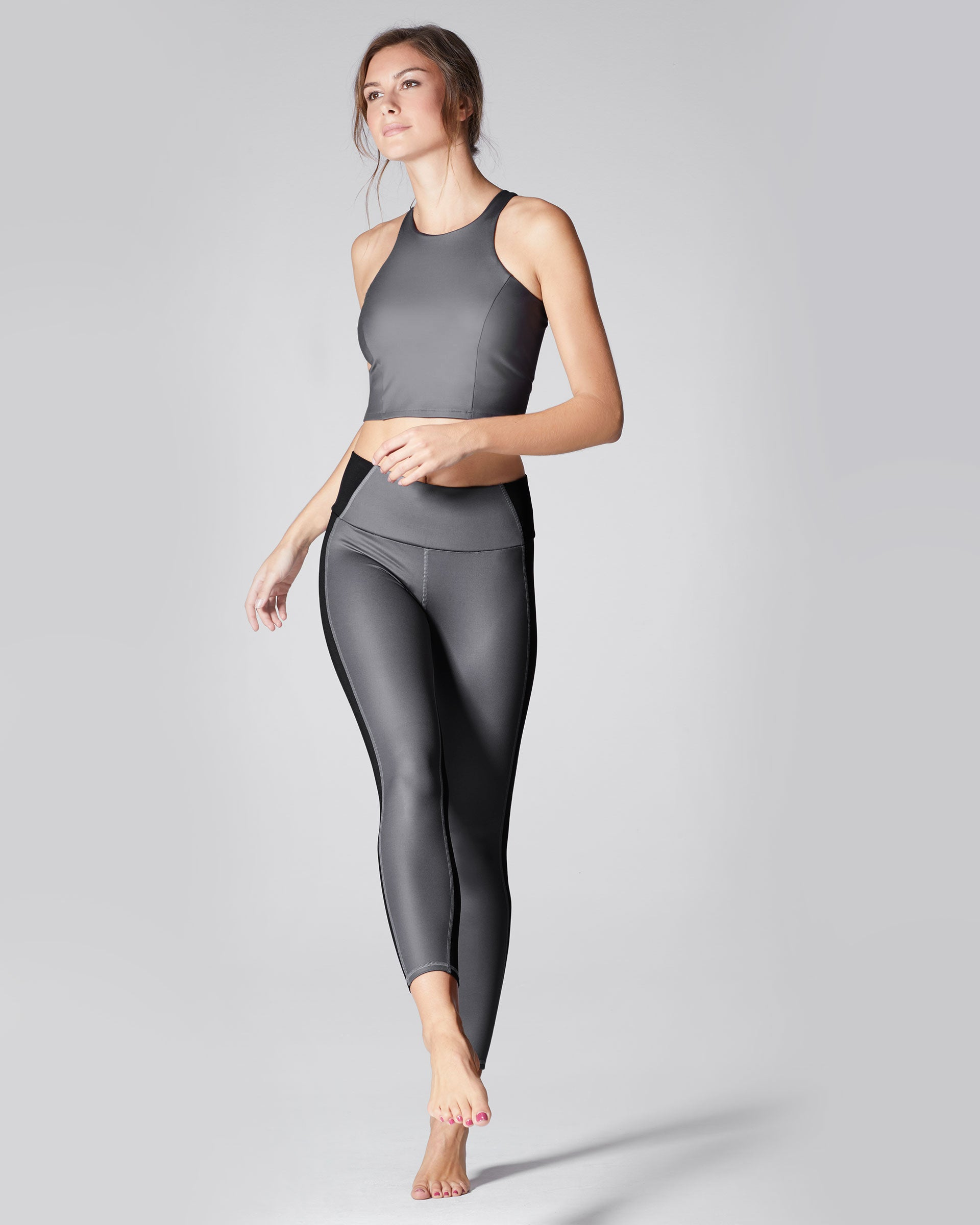 Vibe High Waisted Legging - Gunmetal/Black