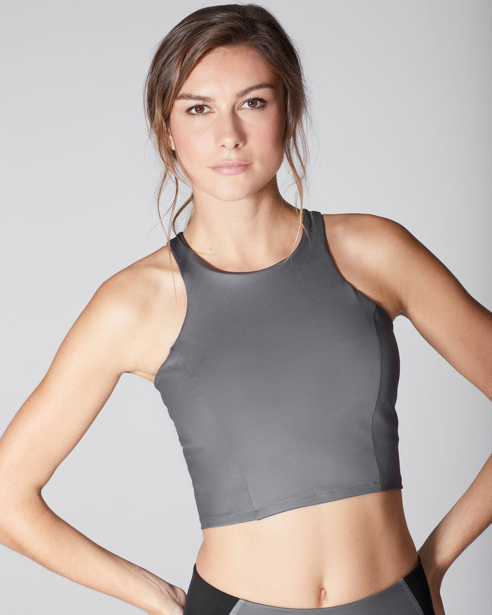 Vibe Crop Top - Gunmetal