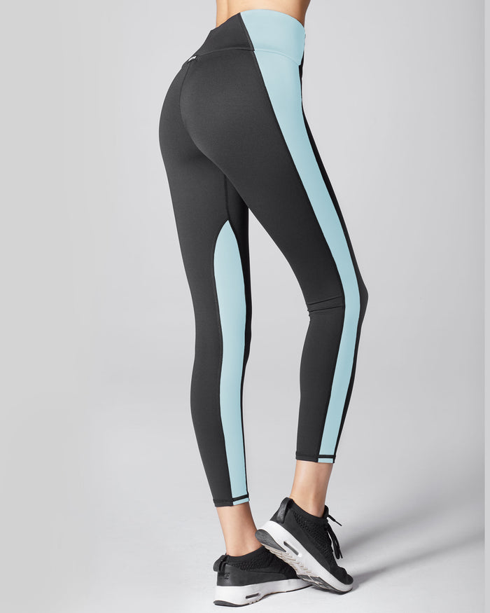 Vibe High Waisted Legging - Black/Sky