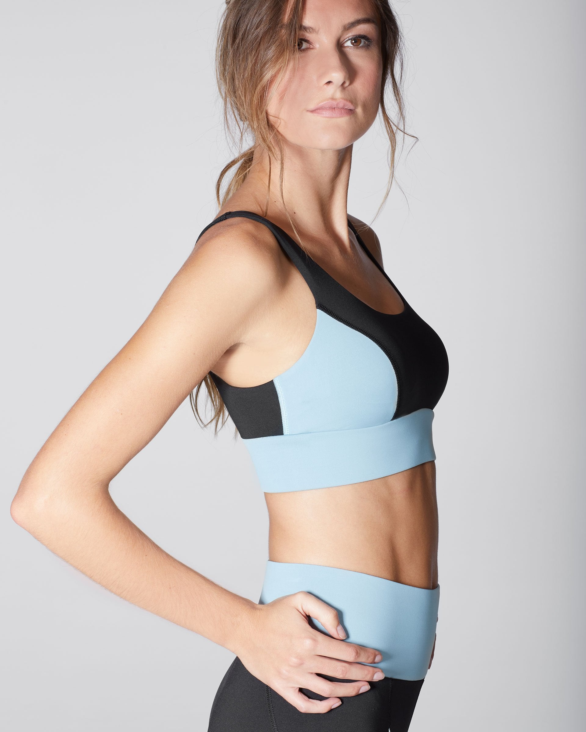 Wave Bra - Black/Sky