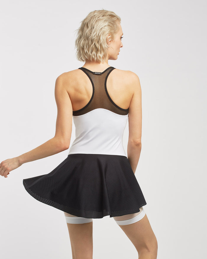 Baseline Tennis Dress - White/Black