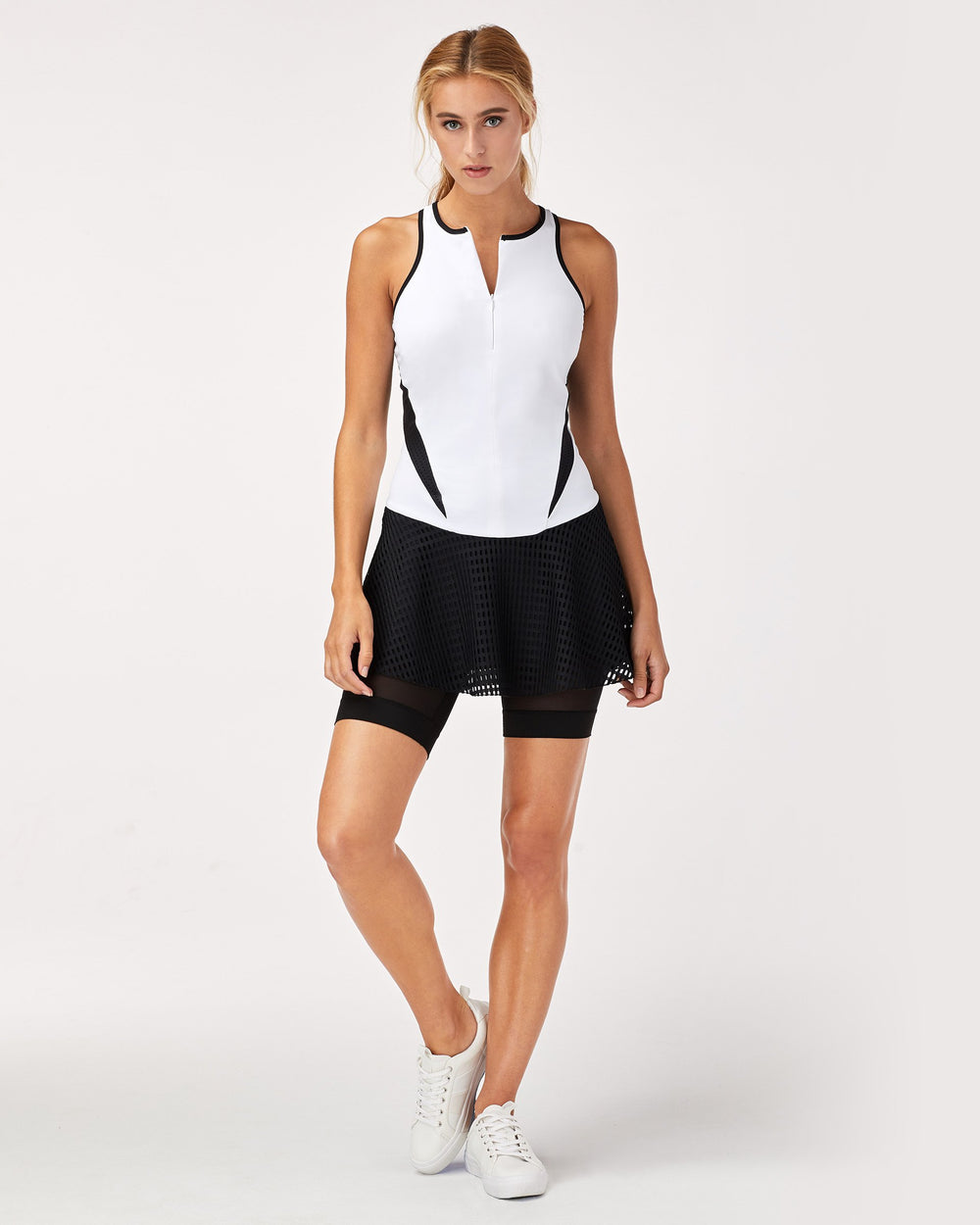Drop Tennis Dress - White/Black